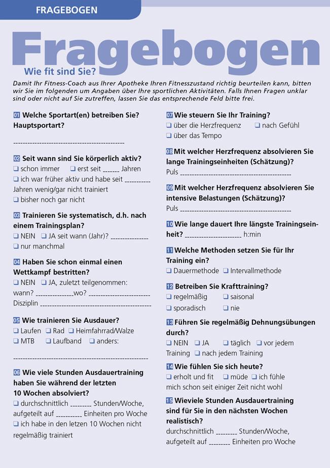 Fragebogen-Wie fit sind Sie?